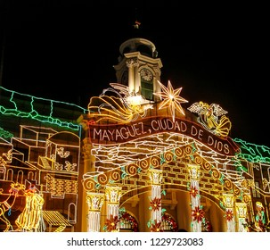 Mayaguez, Puerto RicoUSA - December 23, 2007: Holiday Lights in Front of City Hall