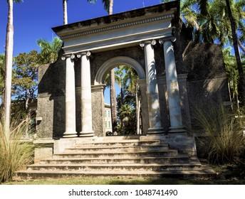 Mayaguez, Puerto Rico/USA - February 17, 2017: University Campus Old Portico and Steps