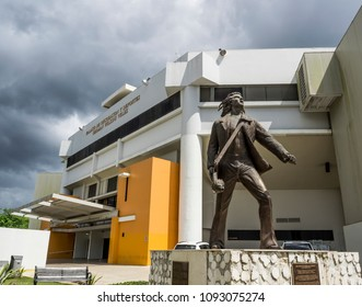 Mayaguez, Puerto Rico/USA-April 20, 2018: Statue of Puerto Rican Pop Singer Wilkins in Front of Sports Palace