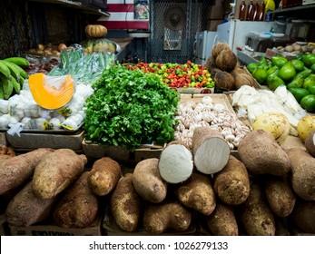 Mayaguez, Puerto Rico/USA-December 1, 2015: Fresh Vegetables at Indoor Farmers Market