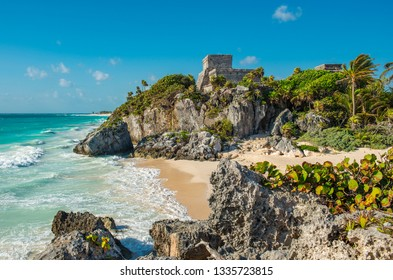 The Mayan archaeological site of Tulum with its famous beach by the Caribbean Sea, Quintana Roo state, Yucatan Peninsula, Mexico