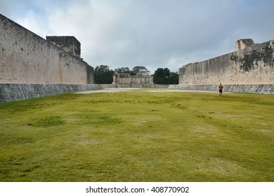 Mayan archeological site of Chichen Itza, Yucatan, Mexico.Playground for ball game.