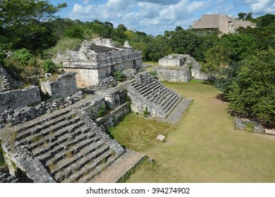 Mayan archeological site of Ek Balam (black jaguar) surrounded by jungle. This ancient Mayan site Ek Balam is located 30 km from center of town Valladolid. Yucatan Peninsula, Mexico.