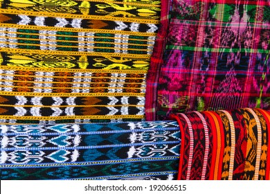 Mayan blankets textile designs on the market in Chichicastenango, Guatemala, Central America