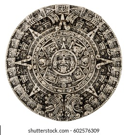 The mayan calendar isolated on white background