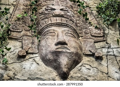 Mayan God carved in the Rock