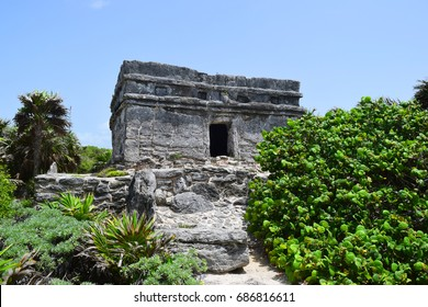 Mayan lighthouse ruin at Xcaret, Mexico