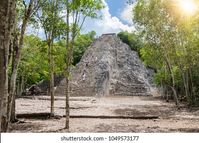 The Mayan Nohoch Mul pyramid in Coba, Yucatan, Mexico
