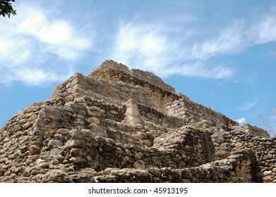 mayan pyramid at chacchoben, mexico