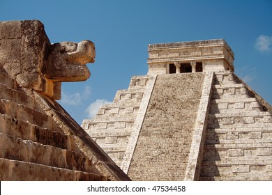 "Mayan Pyramid of Kukulkan ""El Castillo"" as seen from the Platform of the Eagles and the Jaguars, Chichen Itza, Mexico."