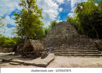 Mayan pyramid structure on the middle of the Coba's jungle