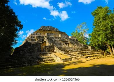 Mayan ruin in costa maya, Mexico   Chacchoben. Blue sky