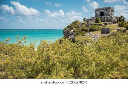 Mayan Ruins Besides Caribbean Sea. Riviera Maya Tulum mayan culture concept