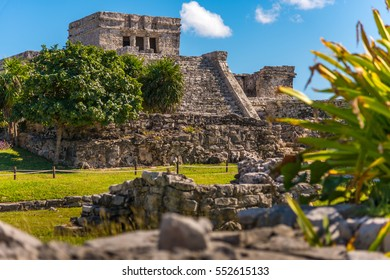 Mayan ruins restored in Tulum, Mexico. Ancient buildings from the maya empire hundreds years ago