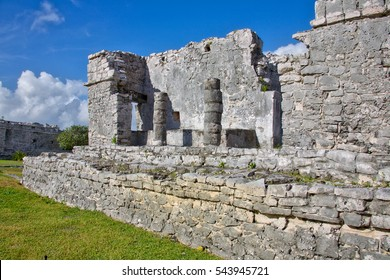 The Mayan ruins in Tulum, Mexico. The ruins were built on tall cliffs on the Caribbean Sea. Tulum was one of the last cities built and inhabited by the Maya.