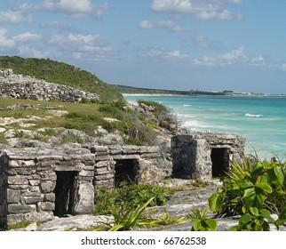 Mayan ruins at Tulum on the Mexican coast near Cancun.  Note the tourist beaches and hotels in the background