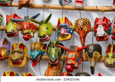Mayan Wooden Masks for sale, Chichicastenango, Guatemala, Central America