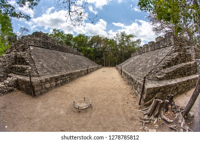 The Mayas practiced the ball game in Coba, Mexico