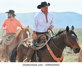 Maybell, Colorado, USA. May 5th & 6th 2018.Great American Horse Drive. This horse drive is a two day ride over open range land where cowboys and riders herd 300-500 Sombrero Ranch horses 62 miles.