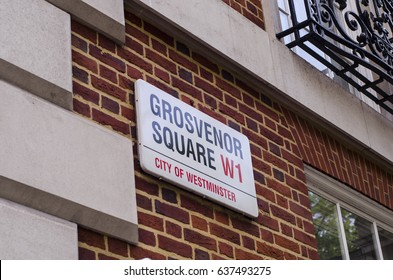 MAYFAIR, LONDON- 9 MAY 2017: Grosvenor Square street sign. Location of American Embassy in London and the Millennium Hotel