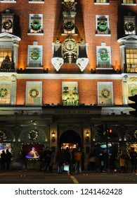 Mayfair, London / UK - 11/25.2018: Piccadilly façade and entrance to Fortnum & Mason department store at Christmas.