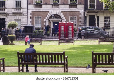 MAYFAIR, LONDON, UK- 9 MAY 2017: Berkeley Square park and gardens in London's upmarket Mayfair district.
