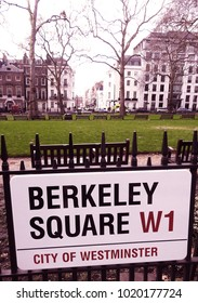 Mayfair, London, UK. January 28 2018.The view across Berkeley Square with the Berkeley Square sign in the foreground