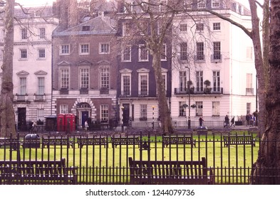 Mayfair, London, UK. January 28 2018 The view across Berkeley Square to Annabel's Nightclub (in colour)