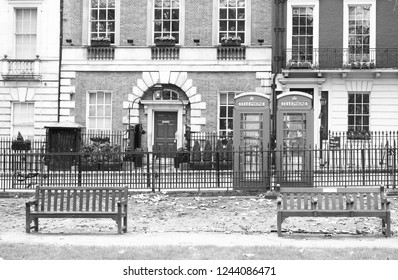 Mayfair, London, UK. January 28 2018.  The front door of Annabel's famous West End Nightclub taken from the central green in Berkeley Square (in black and white)