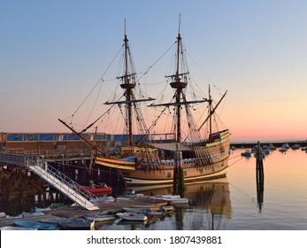 Mayflower Docked at Plymouth Harbor Massachusetts