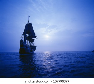 Mayflower II replica in moonlight, Massachusetts