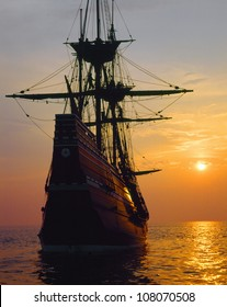 Mayflower II replica at sunset, Massachusetts
