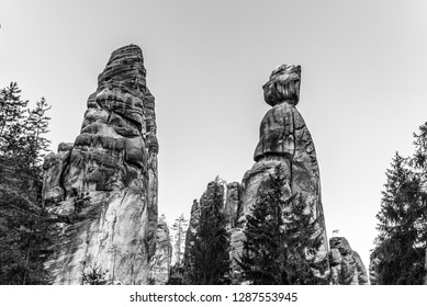 Mayor and his wife. Sandstone rock formation in Adrspach Rocks, Czech Republic. Black and white image.