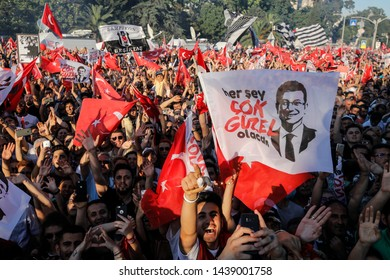 Mayor of Istanbul Ekrem Imamoglu of the main opposition Republican People's Party (CHP) addresses his supporters from the top of a bus outside the City Hall in Istanbul, Turkey, June 27, 2019.