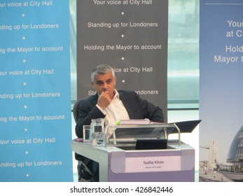 Mayor of London Sadiq Khan appears before the London Assembly in the chamber of City Hall on Wednesday 25 May 2016
