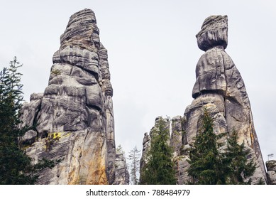 """Mayor with Wife"" rocks in Adrspach Rocks, part of Adrspach-Teplice landscape park in Broumov Highlands region of Czech Republic"
