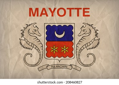 Mayotte Flag Pattern On The Paper Texture Retro Vintage Style