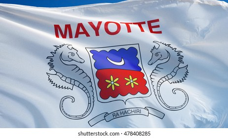 Mayotte Flag Waving Against Clean Blue Sky Close Up Isolated With Clipping Path Mask