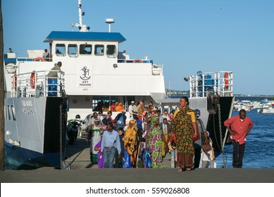 Mayotte, France - 5 June 2007: People coming out of the ferry at Mayotte island, France