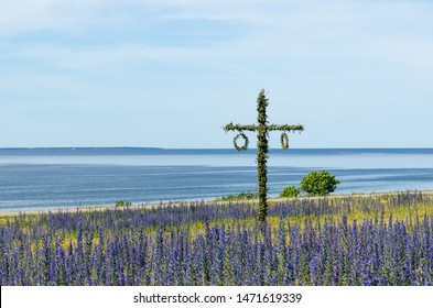 Maypole in a blossom blue field by the coast in Sweden at the island Oland