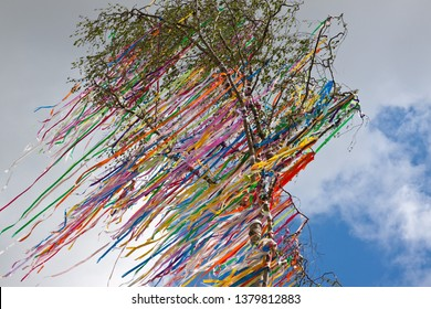 Maypole with colorful ribbons