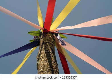 A Maypole ready for a May Day celebration