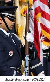 MAYS LANDING, NJ - November 11:  Members of the Military color guard take part in Veterans Day Ceremony at Gaskill Park, November 11th 2008 in Mays Landing, NJ