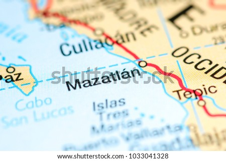 Where Is Mazatlan In Mexico Map.Mazatlan Mexico On Map Stock Photo Edit Now 1033041328 Shutterstock