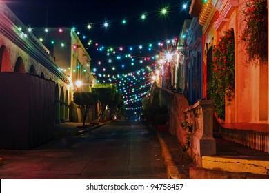 Mazatlans Colorful streetlights
