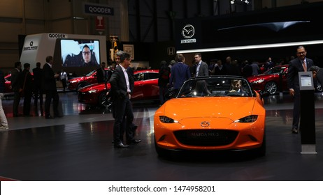 Mazda 30th Anniversary MX5 / Miata in Geneva International Motor Show (GIMS) March 2019, Geneva, Switzerland. Racing orange color limited edition convertible version with soft top. Only 3000 was made.