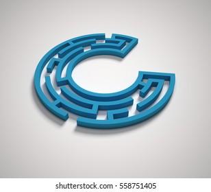 Maze font letter C 3d rendering