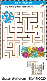 Maze game for children with bees the nectar hunters: Help the bees get to the meadow flowers. Answer included.
