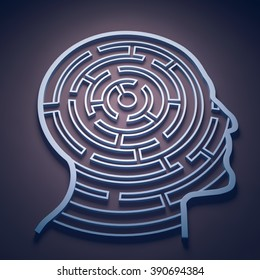 Maze inside a head - cognition and psychology concept
