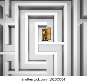 Maze with treasure chest in center of it